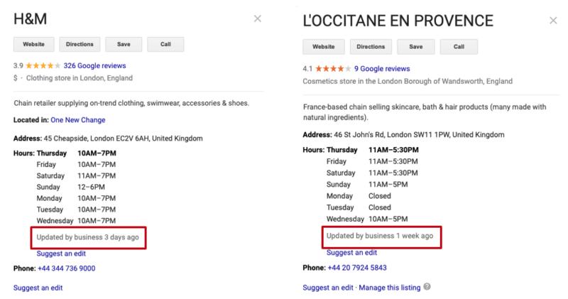 ロンドンで見られたGoogleマイビジネスの最終更新日時の表示