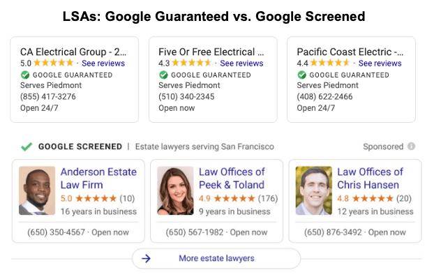 Google保証とGoogle Screenedのマーク